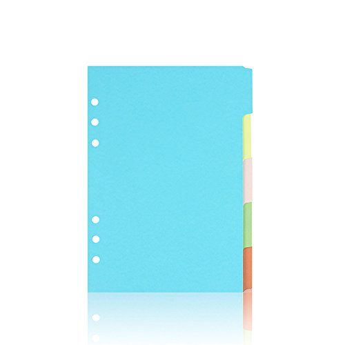 JUNDA A5 Size Colorful 6 Holes Tab Index Dividers,5 Tabs-Set Looseleaf Binder Paper Refills for Students,Office,Home,Pack of 3 by JUNDA