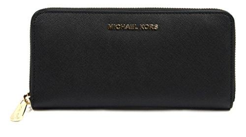 Michael Kors Black Saffiano Leather Large Jet Set Zip Around Continental Wallet (Continental Rucksack)