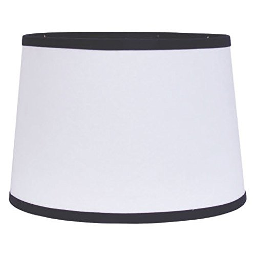 Home Collection by Raghu 4D157011 Black & White Trim Washer Drum Lampshade, 14