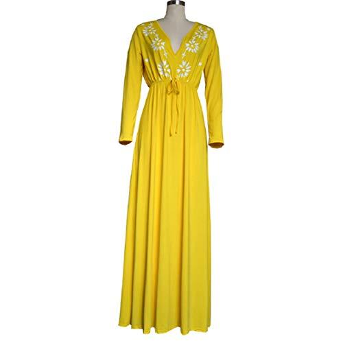 Women Print Long Dress Summer Beach Dress V Neck High Waist Dress Floral Printed Maxi Dress by Lowprofile Yellow by Lowprofile Dress (Image #6)