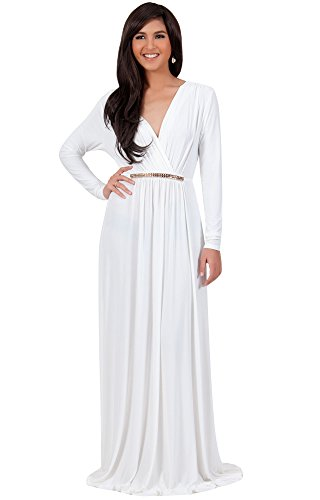KOH KOH Plus Size Womens Long Sleeve Sleeves Kaftan V-Neck Flowy Formal Wedding Guest Fall Winter Evening Day Empire Waist Abaya Muslim Gown Gowns Maxi Dress Dresses, Ivory White 2XL 18-20 -