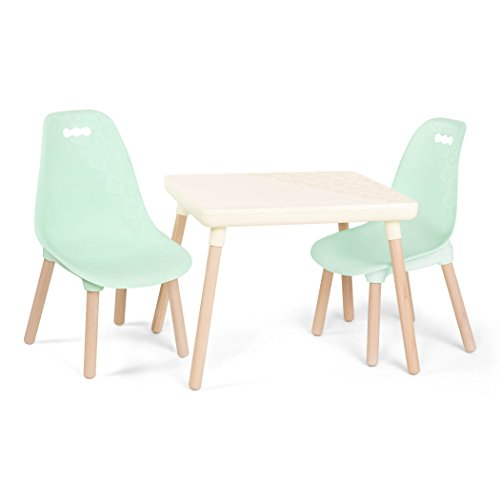 B toys - Kids Furniture Set - 1 Craft Table & 2 Kids Chairs with Natural Wooden Legs (Ivory and Mint)]()
