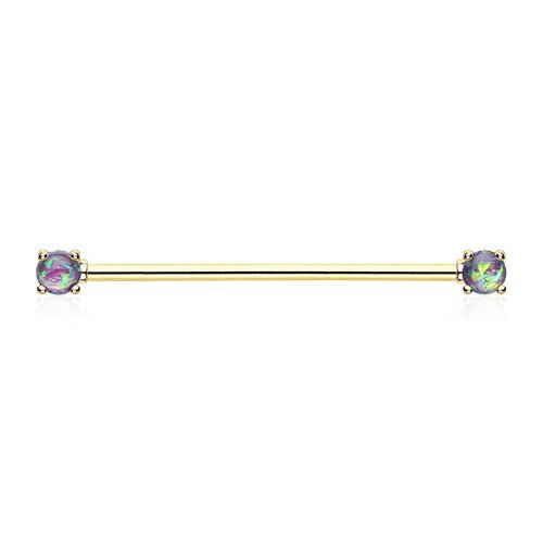 Golden Sparkle Prong Industrial Barbell product image