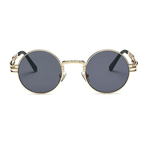 AEVOGUE Sunglasses Steampunk Style Round Metal Frame Unisex Glasses AE0539 (Gold&Black, 48) by AEVOGUE (Image #2)