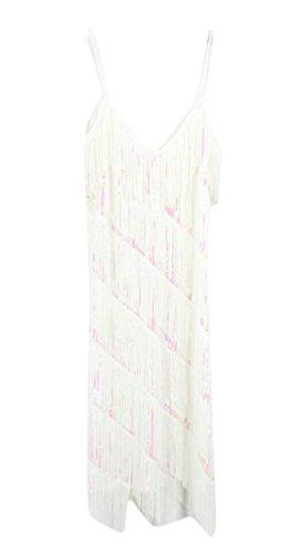 Alion Women's V Neck 1920s Sequin Fringe Flapper Dance Dresses Costumes White OS ()