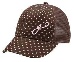 - Gogie Girl: Cotton Corduroy Soft Mesh Hat: DOTTIE-Brown/Pink - Size Standard