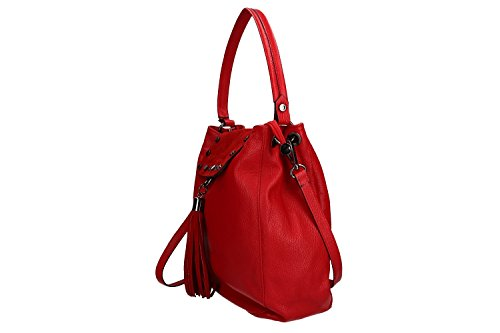 Borsa A Tracolla Donna Pierre Cardin In Pelle Rossa Made In Italy Vn1049