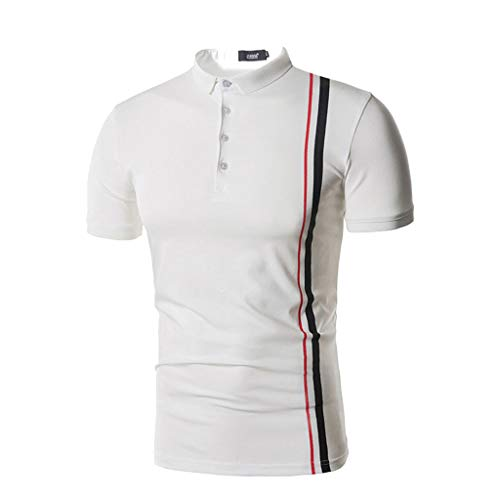 YAYUMI Fashion Mens Short Sleeve Stripe Button O-Neck for sale  Delivered anywhere in USA