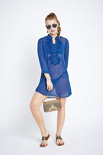 Silk Tunic Georgette - Jazmin Womens Silk Georgette Tunic with Mandarin Collar Embroidery (Ultramarine, Medium)