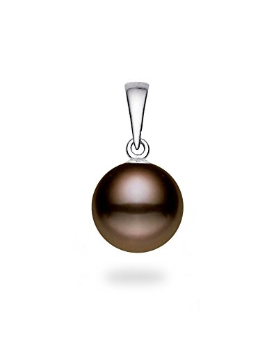14k White Gold AAAA Quality Classic Cocoa Freshwater Cultured Pearl Pendant ()