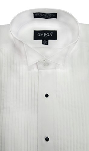 OmegaTux Mens Wing Collar Tuxedo Shirt, 1/4
