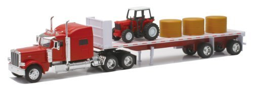 Newray Peterbilt 389 with Hay and Farm Tractor Playset 1/32 Scale Model Toy Vehicles from New Ray