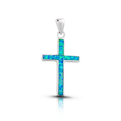 Koral Jewelry Sterling Silver Lab Created Blue Opal Cross Pendant