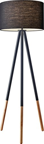 Adesso 6285-01 Louise Floor Lamp, Black, Smart Outlet Compat