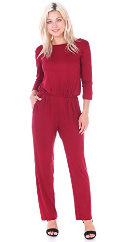 Popana Womens Casual 3/4 Sleeve Jumpsuit with Pockets Plus Size Made in USA XL Burgundy from Popana