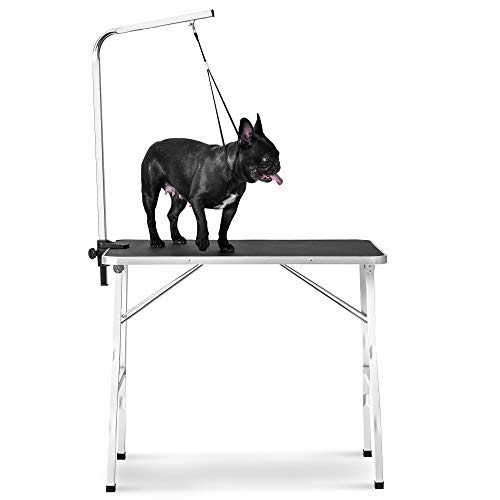 Rhomtree 30″ Foldable Pet Grooming Table with Adjustable Grooming Arm for Small Dog Durable Heavy Duty (30 inch)