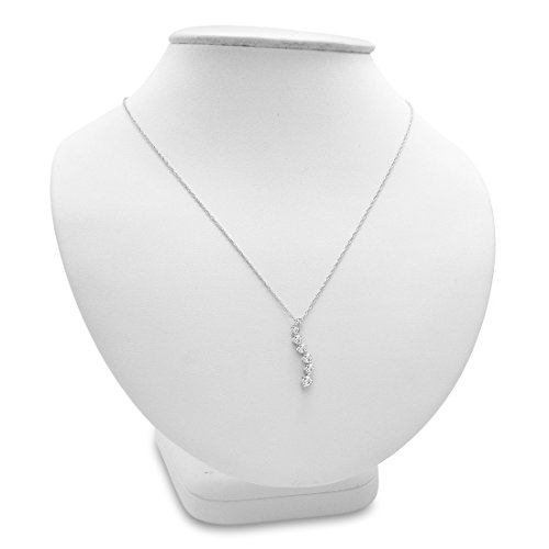 AGS Certified 1/2ct TW Journey Diamond Pendant-Necklace in 10K Gold on an 18 inch Chain