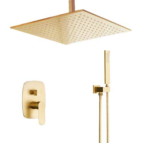 Bilu-hose Brushed Gold Bathroom Brass 12 Inch Ceiling Mount Rain Mixer Rainfall Shower Faucet System Combo Set