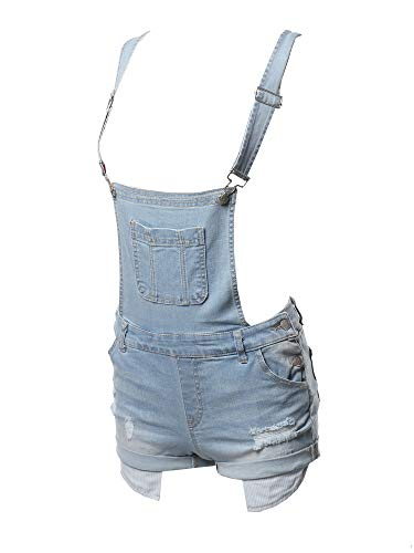 Made by Emma Casual Printed Pocket Lining Rolled Cuff Denim Short Overall Light M