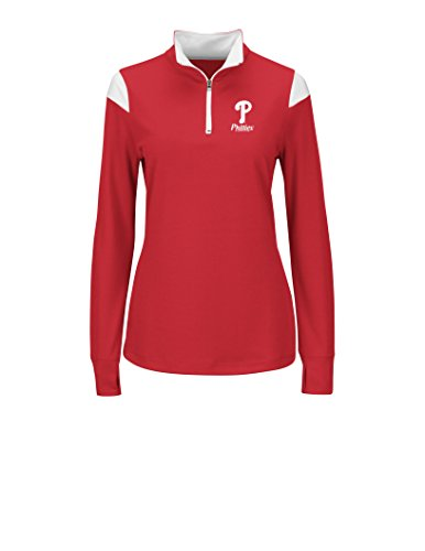 MLB Philadelphia Phillies Women's L5R Fashion Tops, Red/White, (Philadelphia Phillies Womens Fashion)