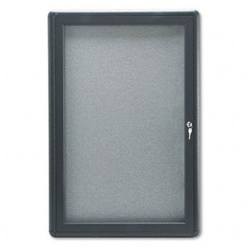 ndoor Cork & Fabric Bulletin Board with Hinged Doors BOARD,CVRD,1DR24X36,GPHGY (Pack of 2) ()