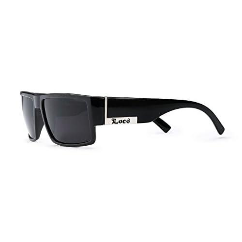 96701b4d4b3 new Locs Mens Flat Top Gangster Sunglasses Black Silver Frame 91026 ...