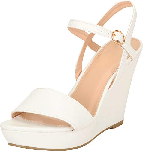 Cambridge Select Women's Open Toe Single Band Buckle Ankle Strappy Platform Wedge Sandal (10 B(M) US, White)