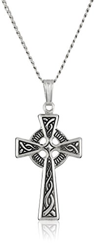 Sterling Silver Celtic Cross Pendant Necklace , 18""