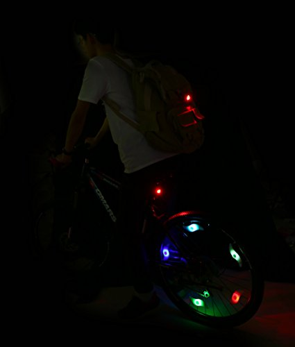 ColorGo Bike Wheel Lights 5pcs with 3 LED Flash Modes Waterproof Bicycle Tire Spoke Lights Keep Safe and Fun for Night Riding (Red+Blue+Green+2 Colorful)