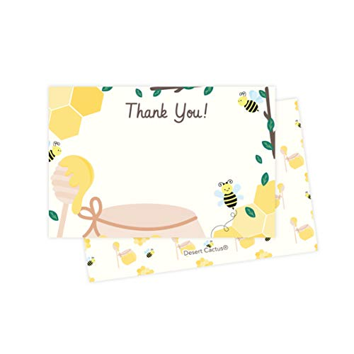 (Bees Bumble Thank You Cards (25 Count) With Envelopes and Seal Stickers Bulk Birthday Party Bridal Blank Graduation Kids Children Boy Girl Baby Shower (25ct))