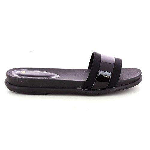 Sandalias metálicos para mujer ultra cómodo Negro