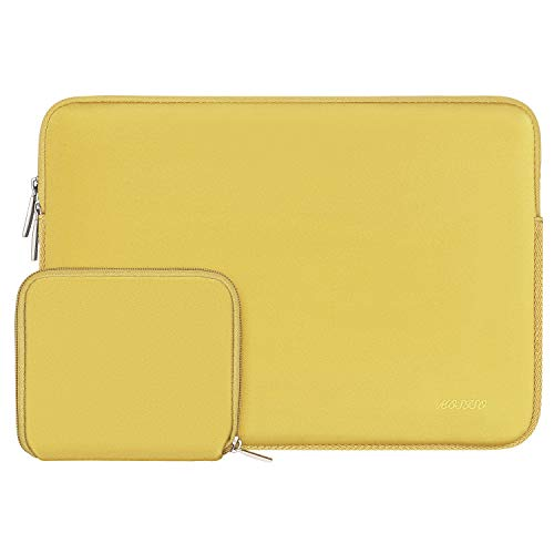 MOSISO Laptop Sleeve Compatible with 2019 2018 MacBook Air 13 inch Retina Display A1932, 13 inch MacBook Pro A2159 A1989 A1706 A1708, Water Repellent Neoprene Bag Cover with Small Case, Yellow