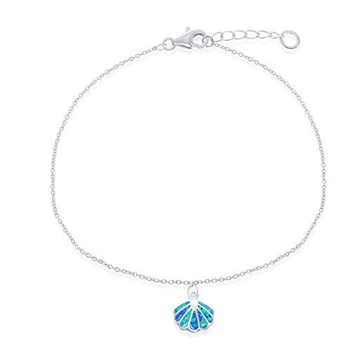 Sterling Silver w/ Created Blue Opal Seashell Adjustable 9+1
