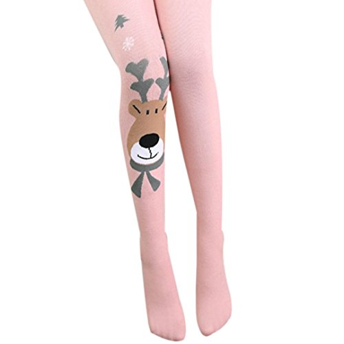 Price comparison product image Clearance! Napoo Kids Girl Christmas Elk Print Elasticity Tights Soft Socks Pantyhose (M,  pink)
