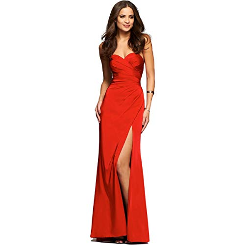 Faviana Women's Faille Satin Strapless w/ Side Draping 7891 Red Dress