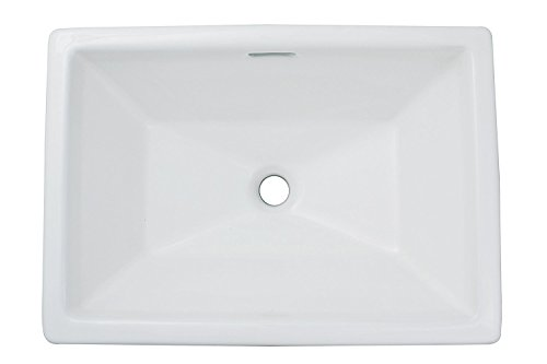 Enbol O2014A White Rectangle Above Counter Self Rimming Porcelain Lavatory Bathroom Vessel Vanity Sink Art Basin (Top Lavatory Sink Mount)