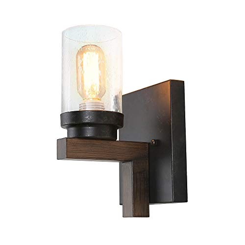 Eumyviv Rustic Style Bathroom Lighting Metal Wall Sconce with Seeded Glass Shade, Industrial Wall Light Log Cabin Home Retro Edison Sconce Lighting Fixtures 1-Light, Black (W0061)