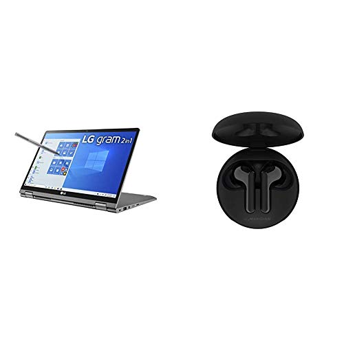 "LG Gram 2-in-1 Convertible Laptop: 14"" Full HD IPS Touchscreen Display, Intel 10th Gen Core i7-10510U CPU, 16GB RAM & LG Tone Free HBS-FN6 - True Wireless Bluetooth Earbuds - Black"