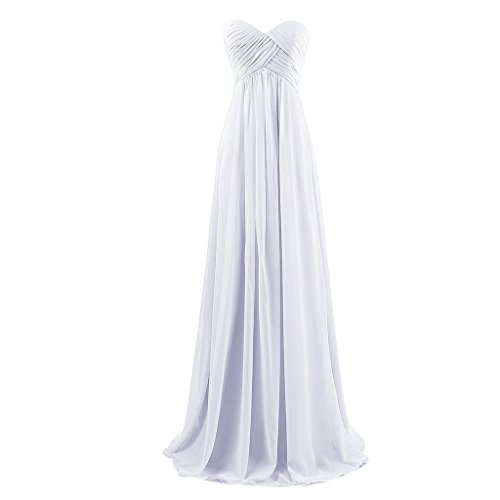 Lemai Sweetheart Pleats Long A Line Corset Formal Women Prom Bridesmaid Dresses Off White US16W