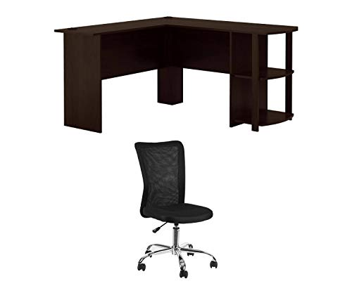 - Ameriwood, L-Shaped Office Desk with Side Storage, Dark Russet Cherry Bundle with Mainstays Adjustable Mesh Desk Chair, Black
