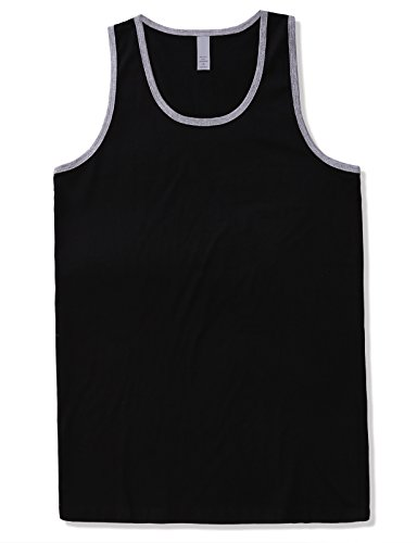 JD Apparel Men's Basic Athletic Jersey Tank Top Contrast Binding M Black Grey (Best Tank Tops For Guys)