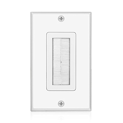 TNP Brush Wall Plate - Single Gang Cable Entry Access Brush Bristles Style Strap Opening Port Insert Socket Wiring Plug Jack Decorative Face Cover Outlet Mount Panel (White)
