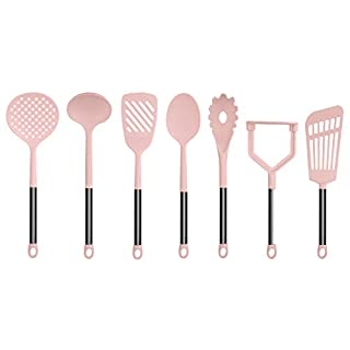 Country Kitchen 7 Piece Nylon Cooking Utensil Set for Nonstick Cookware, Kitchen Utensil Set with Stainless Steel Handles (Gunmetal & Pink)