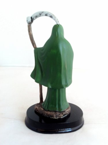 5 Inch Green Statue Holy Death La Santisima Santa Muerte Grim Reaper Skull  Money