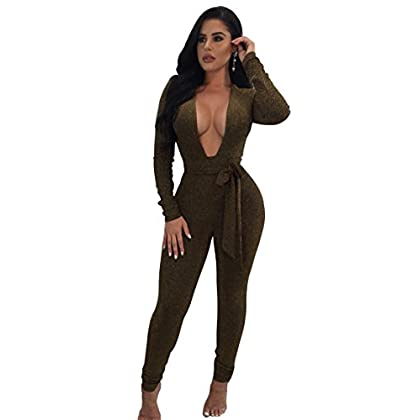 daba4098fd Longwu Women s Sexy Sparkly V Neck Long Sleeve Party Clubwear Bandage  Romper Jumpsuit