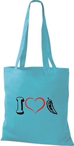 Shirtstown - Bolso de tela de algodón para mujer azul celeste