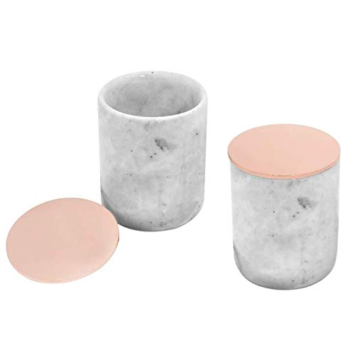 Set of 2 Marble Jars with Rose Gold Lid | Marble Make-up Brush Holder, Q-tip Holder, Cotton Pads Holder | Gray & White Marble Cup with Metal Lid | Marble (Vintage Porcelain Candle Holder)