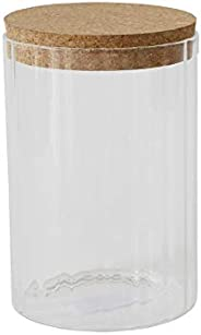 Bloomingville Round Ribbed Glass Jar with Cork Lid, Clear