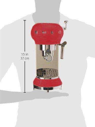 SMEG Máquina de café expreso ECF01RDEU, 1350 W, 2 kg ...