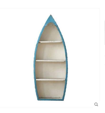 ZAMTAC Mediterranean Wrought Iron Creative Sailboat Floor Bookshelf Decoration Ornaments Bookcases Cabinets Home Decoration Furnishing - (Color: Blue)